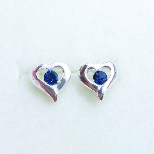 Natural Blue Sapphires 2.87mm Silver/ Gold/Platinum heart stud earrings