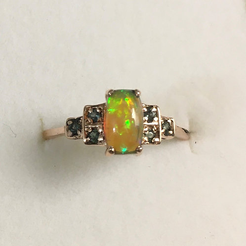 0.55ct Natural multi-colour welo opal 9ct 375 Rose gold art deco ring