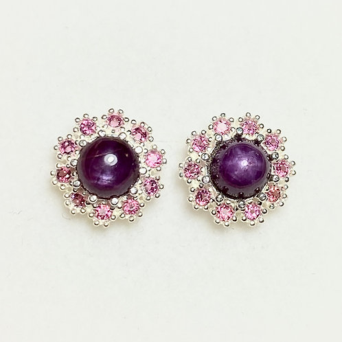 Natural red star ruby Silver /Gold bezel stud earrings