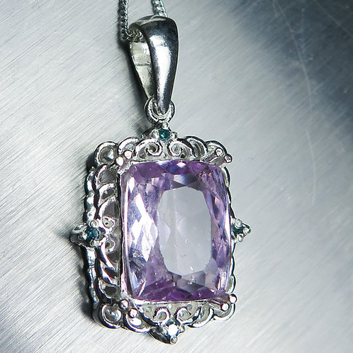 6.90ct Natural pink Kunzite Silver / Gold / Platinum pendant on ch