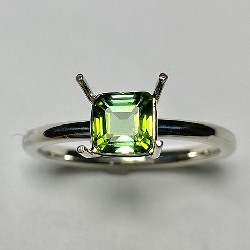 Natural Green tourmaline 925 Silver / Gold/ solitaire ring