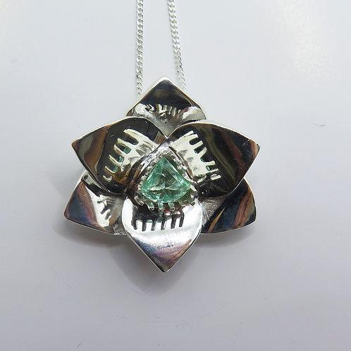 Natural Paraiba blue green tourmaline Silver / Gold / Platinum orchid pendant