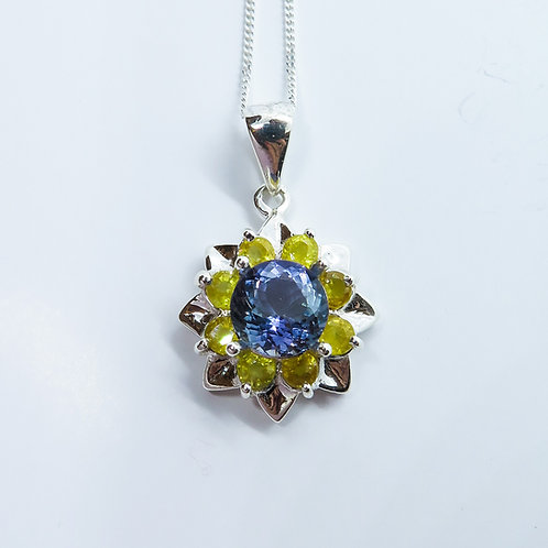 Natural purple-blue Tanzanite Silver / Gold / Platinum pendant