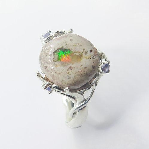 5ct Natural Mexican Fire Opal 925 Silver / Gold/ Platinum ri
