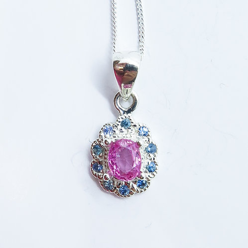 0.9cts Natural Pink Sapphire 925 Silver / Gold / Platinum pendant