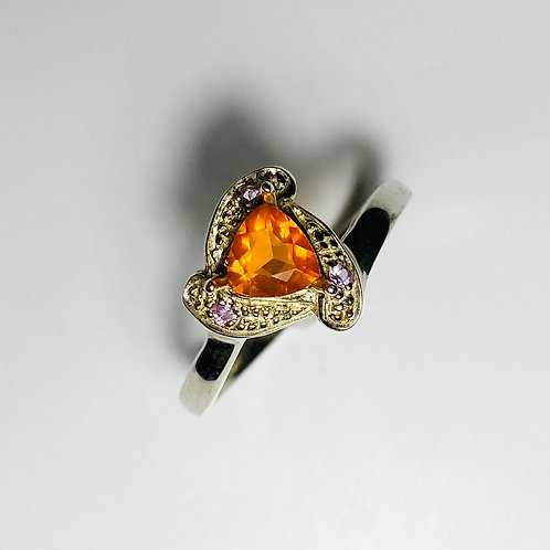 Natural fire opal 925 Silver / Gold/ Platinum engagement ring