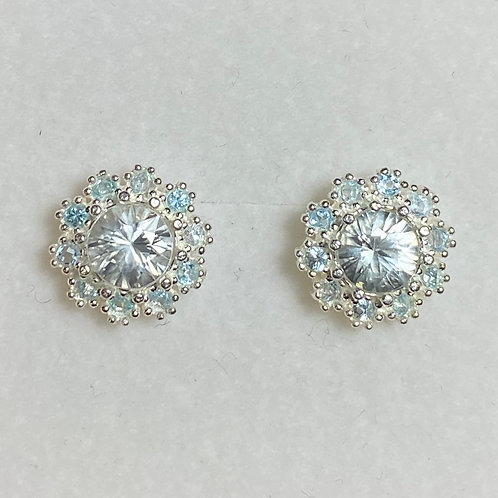 1.9ct Natural Paraiba zircon Silver /Gold halo stud earrings cluster