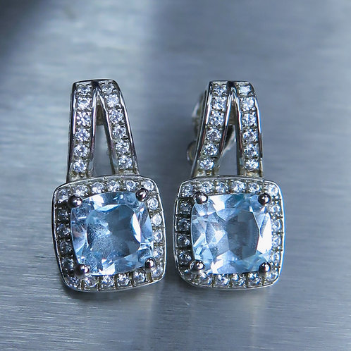 Natural light blue Topaz Silver/ Gold/Platinum stud earrings