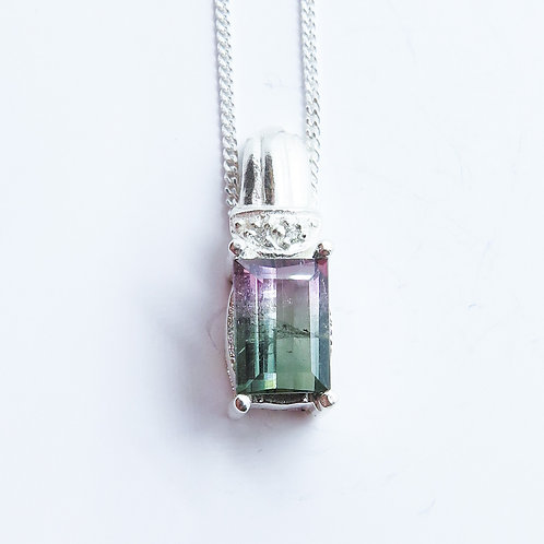 1ct Natural Watermelon tourmaline Silver / Gold / Platinum pendant on chain