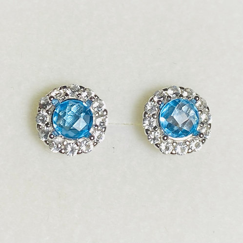 1.1cts Natural Swiss blue Topaz Silver /Gold / Platinum stud earrings