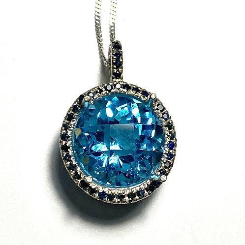 13.25ct Natural Swiss Blue Topaz Silver / Gold / Platinum pendant