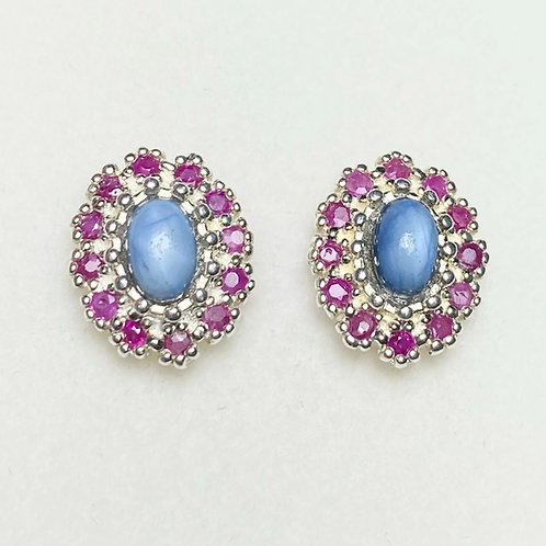 1.8ct Natural soft Star Sapphire Silver /Gold pear stud earrings