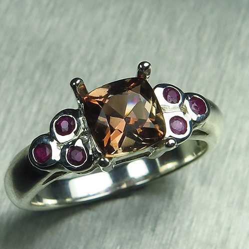 Natural Bi-colour Andalusite 925 Silver / Gold/ Platinum ring