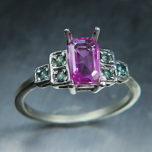 Natural pink sapphire 925 Silver / Gold/ Platinum ring