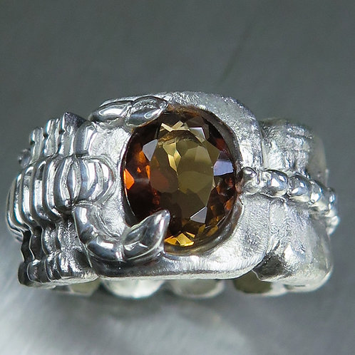 2.60ct Natural Imperial topaz 925 Silver / Gold/ Platinum scorpion ring