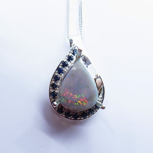 1.15ct Natural Australian black Opal Silver / Gold / Platinum pendant on chain