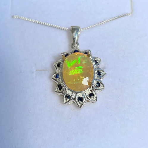 2.35ct Natural Welo Opal rainbow Silver / Gold / Platinum pendant on chain