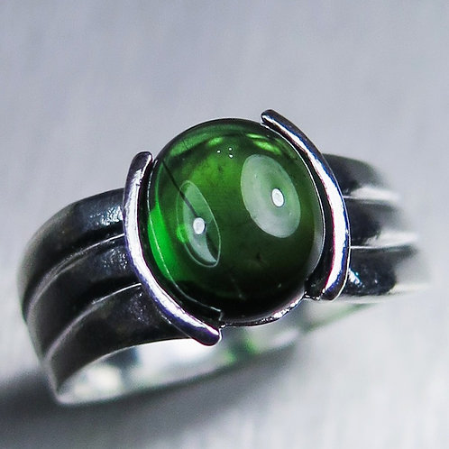 2.6ct Natural Green Tourmaline 925 Silver / Gold/ Platinum ring