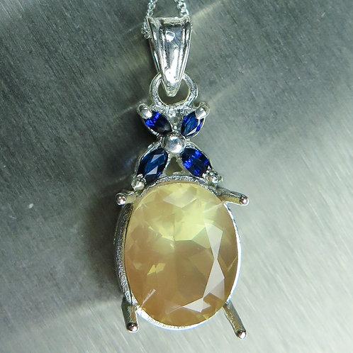 4.85ct Natural Andesine Labradorite 925 Silver / Gold / Platinum pendant