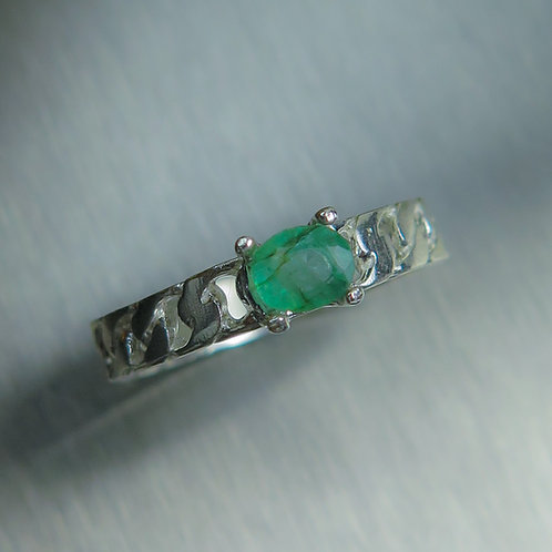 Natural Colombian Emerald 925 Silver / Gold/ Platinum unisex ring