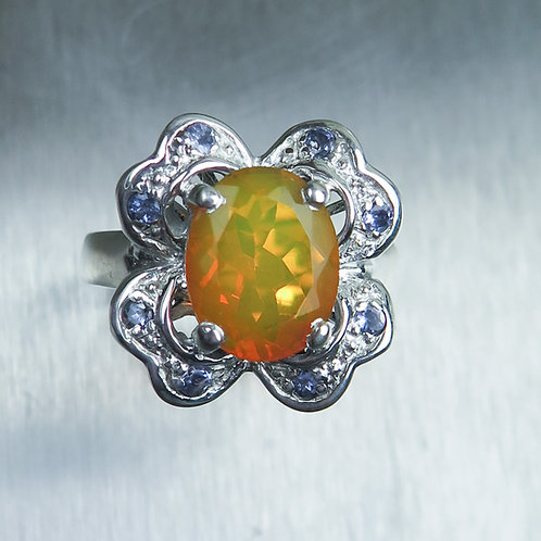 Natural Welo Fire Opal & tanzanites 925 Sterling Silver ring