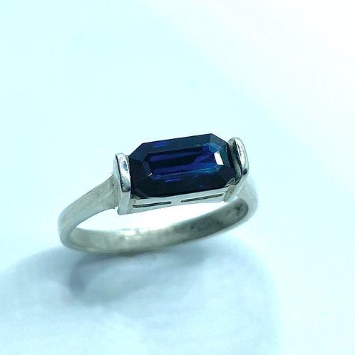 Natural Kashmir sapphire Royal blue 925 Silver / Gold/ east west unisex ring
