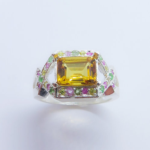 2ct Natural Yellow Heliodor Beryl 925 Silver / Gold/ Platinum ring