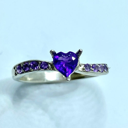 Natural Amethyst Purple Violet 925 Silver / Gold/ Platinum heart ring
