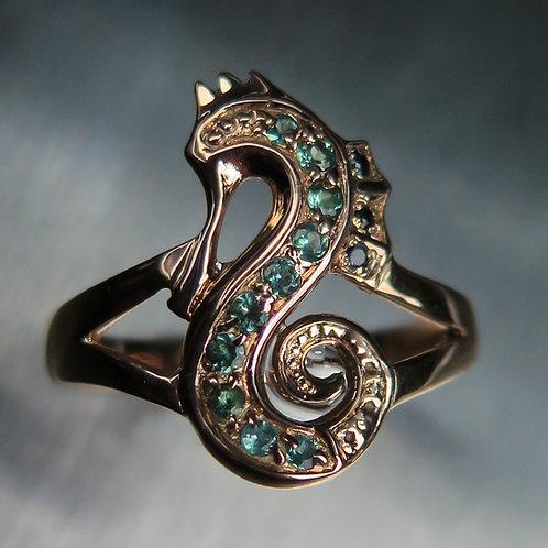 Natural Alexandrite colour change 925 Silver / Gold/ Platinum seahorse ring