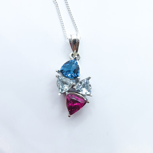 Natural Rubellite, Blue Topaz Silver / Gold / Platinum pendant