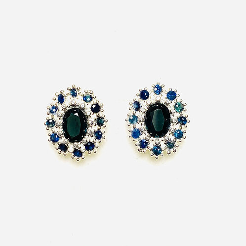 1.2ct Natural Dark Blue Spinel Silver /Gold halo stud earrings cluster