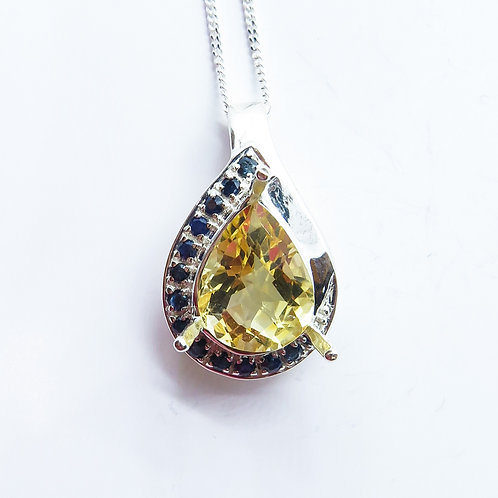 3.05ct Natural Citrine Silver / Gold / Platinum pendant on chain