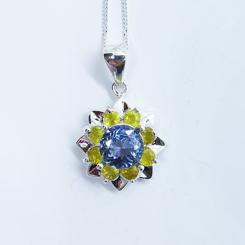 Natural purple-blue Tanzanite Silver / Gold / Platinum pendant
