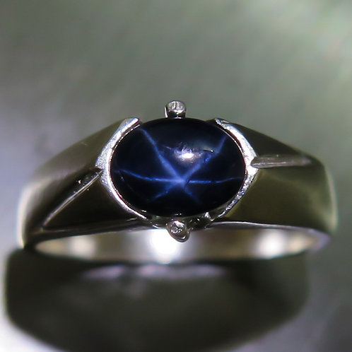 1.55ct Natural Royal blue ray star sapphire 925 Silver / Gold/ Platinum ring