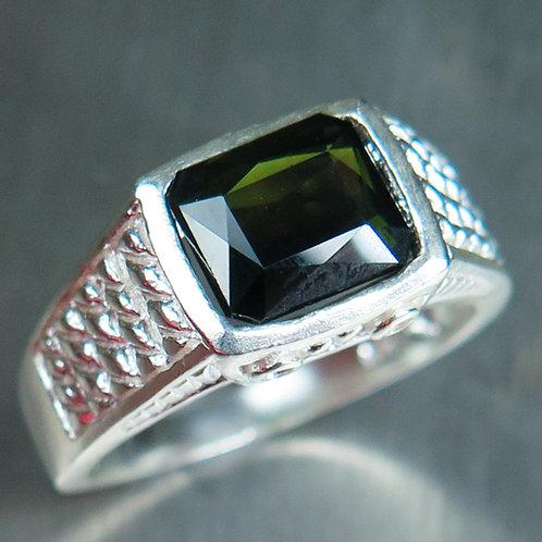2.2ct Natural dark forest green tourmaline 925 Silver / Gold/ Platinum ring