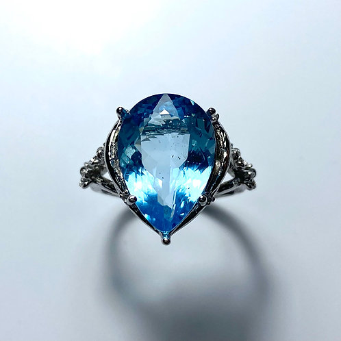7.7ct Natural Swiss Blue Topaz 925 Silver / Gold/ Platinum ring