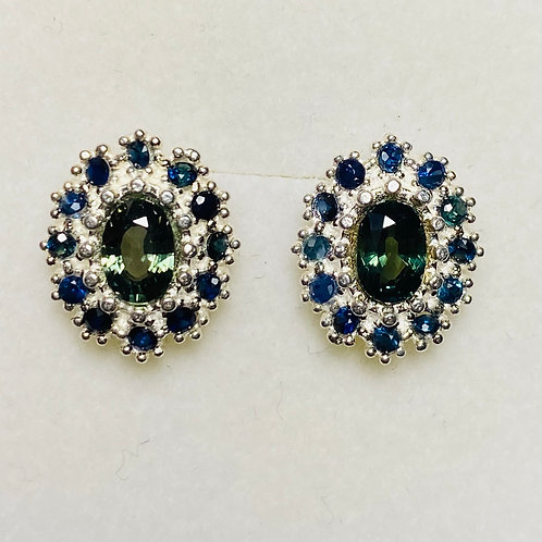 1.4ct Natural Green-Blue Sapphire Silver /Gold pear stud earrings