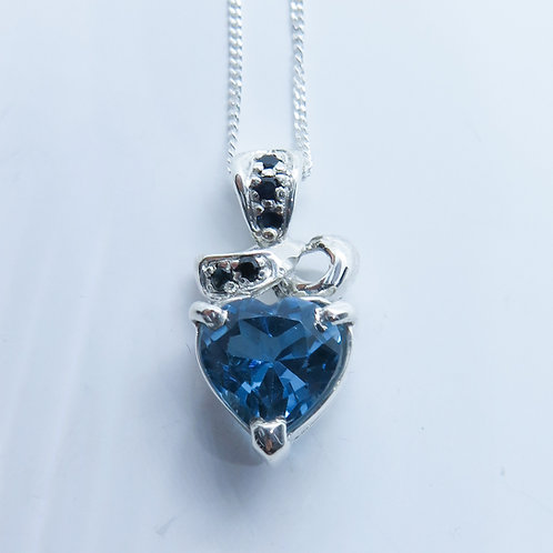 2.45ct Natural Swiss Blue Topaz Silver / Gold / Platinum heart pendant