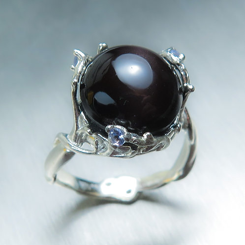 7.1cts Natural Cat's eye Scapolite Silver/ Gold / Platinum ring