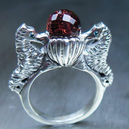 3.7ct Natural red Spessartine Garnet 925 Silver / Gold/ Platinum seahorse ring