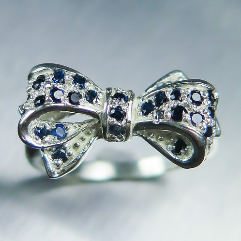 Natural Dark blue Sapphires 925 Silver / Gold/ Platinum bow ring