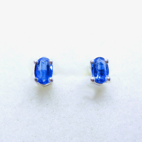 Natural blue Kyanite 925 Silver / Gold / Platinum unisex stud earrings studs