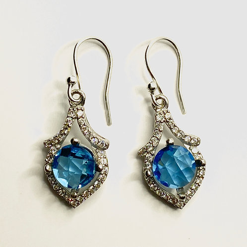 4.45ct Natural Swiss Blue Topaz 925 Silver / Gold/ Platinum drop earrings