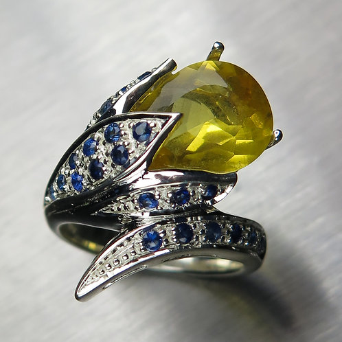 Natural Heliodor Beryl 925 Silver / Gold/ Platinum ring