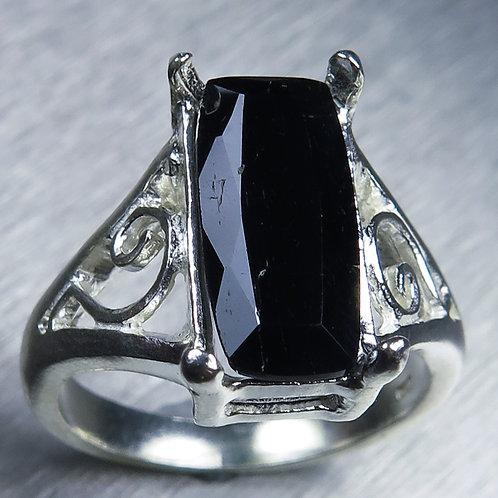 3.85ct Natural dark green Epidote 925 Silver / Gold/ Platinum ring