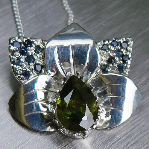 Natural Colour change Sphene 925 Silver / Gold / Platinum orchid pend