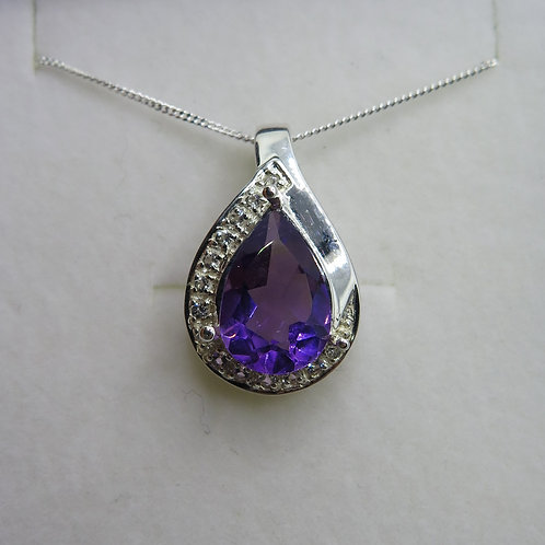 2.95ct Natural purple Amethyst Silver / Gold / Platinum pendant