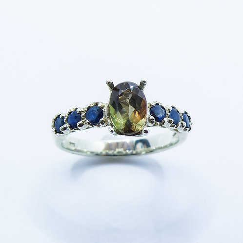0.95cts Natural bi-colour Andalusite 925 Silver / Gold/ Platinum ring