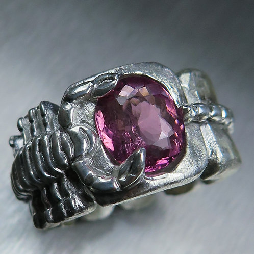 2.60cts Natural Pink Tourmaline 925 Silver / Gold/ Platinum scorpion ri