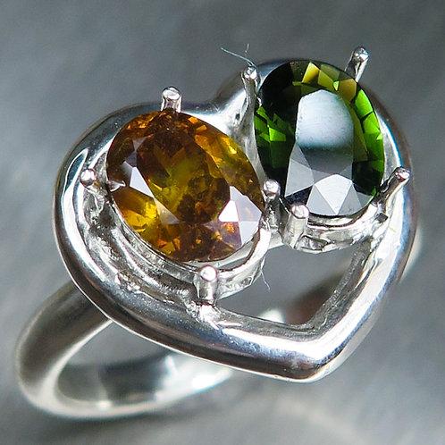 Natural Chrome Diopside & Sphalerite 925 Silver / Gold/ Platinum ring